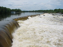 Pawtucket Falls when flooded in May 2006