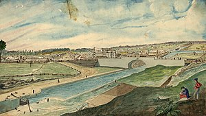 Lower Town - 1845 painting of Sappers Bridge the Rideau Canal and Lower Town by Thomas Burrowes