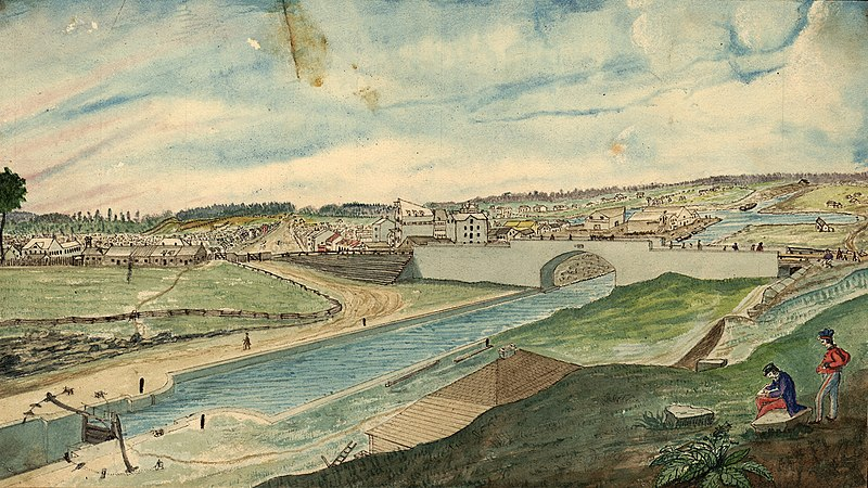 Datoteka:Lower Bytown, from the Barrack Hill, near the head of the Eighth Lock and Sappers' Bridge, 1845.jpg
