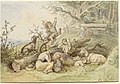 Ludwig Richter, Children and Goats Resting by a Felled Tree, 1868, NGA 139137.jpg
