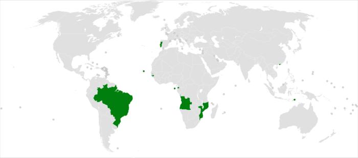 Mapa dos países lusófonos.