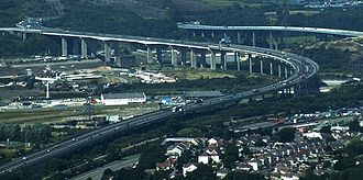 M4 motorway - The original (A48(M)) bridge over the River Neath is to the right, the new M4 bridge is to the left