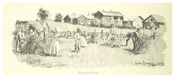 Arbete på en gård i Nyland, 1894
