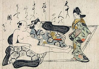 "Homosexuality in Japan - Male couple on a futon: A man reclines with a wakashū and converses with an onlooker. Note the Wareshinobu hairstyle of the young man, indicating a male trainee maiko. Possibly the first nanshoku erotic print, as well as an early example of a hand-colored ukiyo-e print in the shunga (erotic) style. Early 1680s by Hishikawa Moronobu (1618–94); Ôban format, 10.25"" × 15""; Sumi ink and color on paper; Private collection."