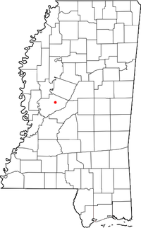 Location of Benton, Mississippi