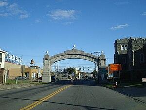 Endicott Johnson Corporation - Square Deal Arch on the border between Binghamton and Johnson City