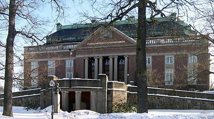 Main building of the Royal Swedish Academy of Sciences in Stockholm. Main building of the Royal Swedish Academy of Sciences (Kungliga Vetenskapsakademien), Frescati, Norra Djurgarden, Stockholm.jpg