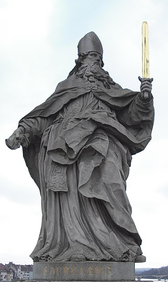 Burchard of Würzburg - The statue of Saint Burchard on Würzburg's Alte Mainbrücke.