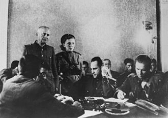 Majdanek trials - Former SS-Obersturmbannfuehrer Anton Thernes (standing, left) in front of a penal court on trial for crimes committed at Majdanek, 1944, Lublin, Poland
