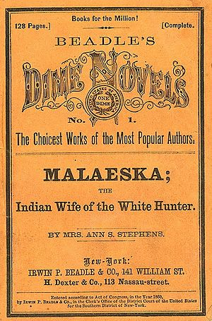 Dime novel - Cover of Malaeska, the Indian Wife of the White Hunter (1860)
