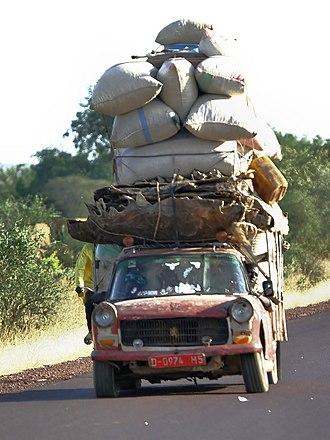 Transport in Mali - A typical highway scene in Mali.