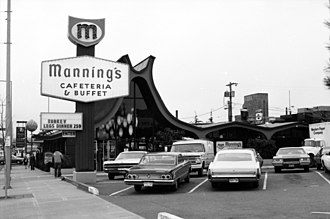 Manning's Cafeterias - This building at the corner of NW Market St. and 15th Ave NW, Ballard, Seattle, Washington, was originally (1964) Manning's Cafeteria, and then (1984) became a Denny's chain restaurant. It was shuttered when the location was supposed to be used for a station for a monorail that was never built. The building was granted city landmark status February 20, 2008, but that was later reversed and the building was demolished.