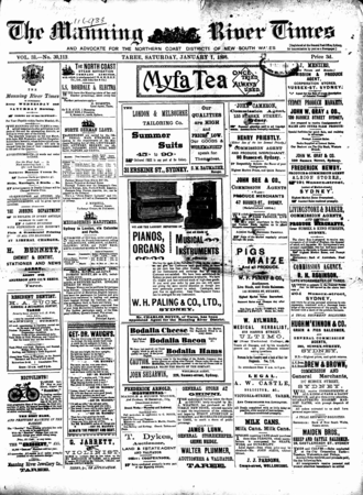 Manning River Times - Front page of The Manning River Times and Advocate for the Northern Coast Districts of New South Wales, 1 January 1898