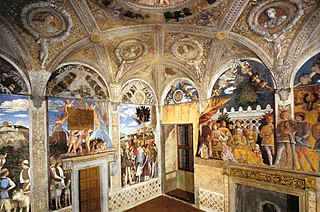 Camera degli Sposi room frescoed with illusionistic paintings by Andrea Mantegna in the Ducal Palace, Mantua, Italy