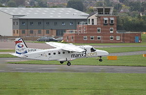 Manx2 - A FLM Aviation Dornier 228 at Gloucestershire Airport operating services for Manx2