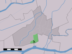 The village centre (dark green) and the statistical district (light green) of Schelluinen in the municipality of Giessenlanden.