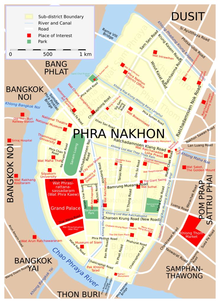 Carte de Phra Nakhon, le quartier historique de Bangkok - Image de Lerdsuwa