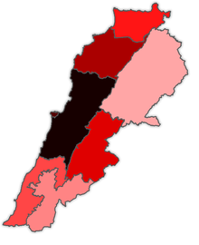 Map of COVID-19 Cases in Lebanon per Governorate as of 10 June 2020.png