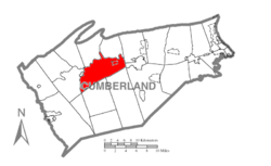 Map of Cumberland County, Pennsylvania highlighting West Pennsboro Township