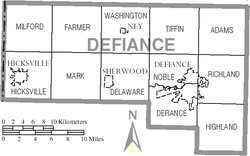 Map of Defiance County Ohio With Municipal and Township Labels.PNG