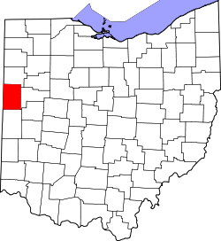 map of Ohio highlighting Mercer County