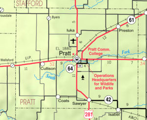 Pratt, Kansas - Image: Map of Pratt Co, Ks, USA