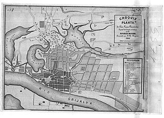 Battle of San Juan Bautista - High resolution contemporary map of San Juan Bautista (note that some streets were renamed after the reoccupation)