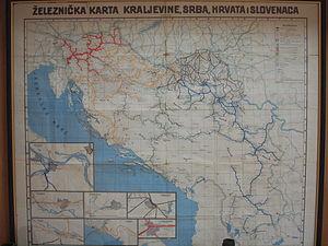 Yugoslav Railways - Late-1920's railway map of Yugoslavia