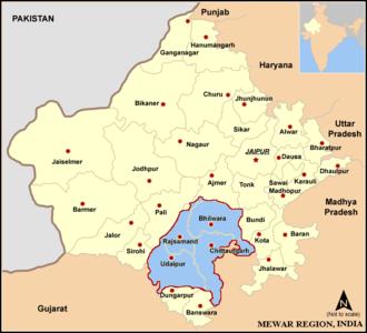 Mewar - Map of the Mewar Region