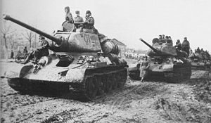 Uman–Botoșani Offensive - Soviet T-34/85s pause during an advance, 1944