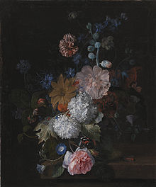 Margareta Haverman - flower still life on a stone slab with butterfly and other insects kmsst88.jpg