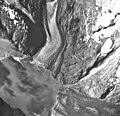 Margerie and Grand Pacific Glaciers, tidewater glacier terminus with wide lateral moraines, and hanging glaciers, September 17 (GLACIERS 5621).jpg