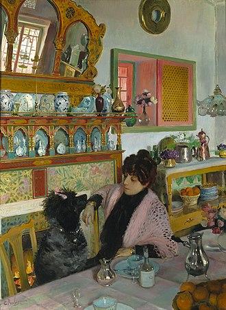 Georges Rochegrosse - Marie Rochegrosse dans la Salle à Manger. Dated 1904