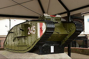 Mark IV tank - Mark IV female on display in Ashford, Kent. The white-red-white stripes on the front are a British recognition marking that was also carried by British tanks early in WW II
