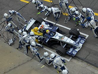 Mark Webber - Webber during pit stop at 2005 San Marino Grand Prix.