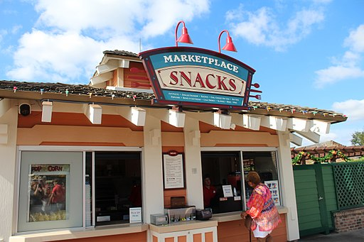 Store Front of Marketplace Snacks at Disney Springs where you can get a Dole Whips Pineapple Soft-Serve Float.