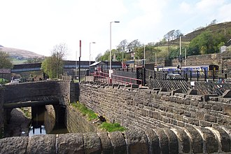 Marsden railway station - Image: Marsden station and canal