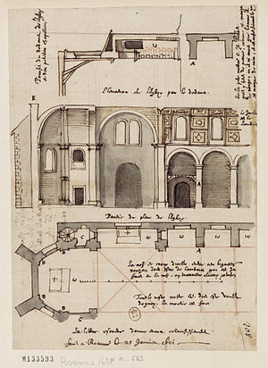 Étienne Martellange - Architectural drawing of the church that formed part of the Jesuit school in Roanne. The church is now the Chapelle Saint-Michel.