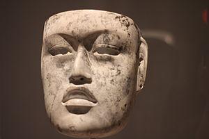 Mexican mask-folk art - Olmec mask from Veracruz at the Dallas Museum of Art.