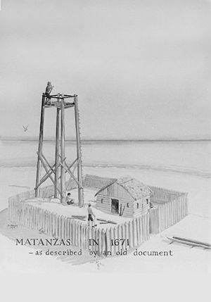 Manuel de Cendoya - Artist's conception of one of the early wooden watchtowers at Matanzas Inlet, as described in a 1671 document