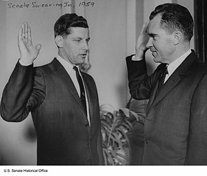 Gale W. McGee - Vice President Richard Nixon administers the oath of office to Senator Gale McGee, 1959.