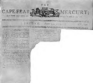 Mecklenburg Declaration of Independence - A fraudulent recreation of a page from the June 3, 1775, issue of the Cape Fear Mercury, which supposedly printed the text of the Mecklenburg Declaration of Independence. Published in Collier's Magazine in 1905, the reproduction was quickly shown to be a hoax.