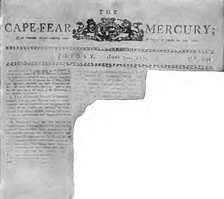 A fraudulent recreation of a page from the June 3, 1775, issue of the Cape Fear Mercury, which supposedly printed the text of the Mecklenburg Declaration of Independence. Published in Collier's Magazine in 1905, the reproduction was quickly shown to be a hoax. Mecklenburg Declaration hoax.JPG