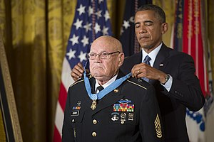 Bennie G. Adkins - Adkins receiving the Medal of Honor from President Obama