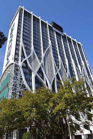 Media24 - The new façade of the Media24 Centre (previously named the Naspers building) in Cape Town, 2015