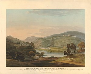 Abraham Mills (geologist) - Landscape (1804) in County Wicklow, Ireland, by Frederick Christian Lewis after Thomas Sautelle Roberts, showing Abraham Mills's residence to the left