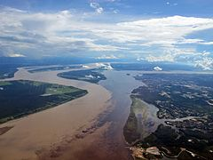 Meeting of waters from the air manaus brazil.JPG