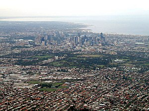 Aerial view of central Melbourne. (February 20...