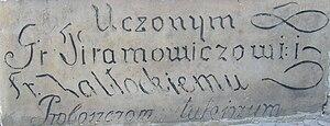 Franciszek Zabłocki - A memorial tablet in honor of Zablocki.