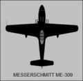 Messerschmitt Me 309 top-view silhouette.png